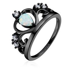 BAMOER New Arrival 925 Sterling Silver Love Crown Ring Black Gold... ❤ liked on Polyvore featuring jewelry, rings, sterling silver rings, wedding jewelry, sterling silver crown ring, gold plated rings and opal wedding rings