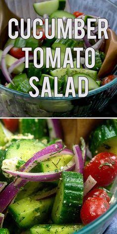 Cucumber Tomato Feta Salad, Tomato Salad Recipes, Cucumber Recipes, Salad Recipes For Dinner, Cucumber Juice, Cucumber Salad Vinegar, Feta Cheese Recipes, Cucumber Beetles, Cucumber Water