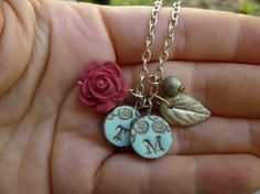 Personalized mommy letter necklace 2 letter charms by Palomaria