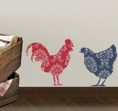 Country Rooster and Chicken Vinyl Decal Set - Kitchen Wall Decal - Farm Farmhouse Country