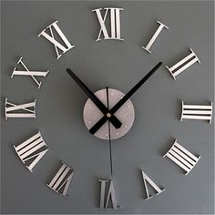 DIY 3D Roman Numerals Large Luxury Home Decor Mirror Wall Clock #KISO #ArtDeco