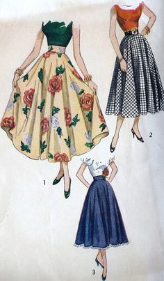 Misses' Skirt in Ballerina or Daytime Lengths Vintage Sewing Pattern Simplicity 2359 Waist uncut Vintage Sewing Patterns, Clothing Patterns, Dress Patterns, Retro Fashion, Vintage Fashion, Modern 50s Fashion, 1940s Fashion Dresses, Folk Fashion, Vintage Dresses
