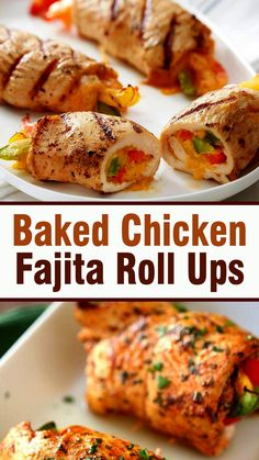 Baked Chicken Fajita Roll Ups - Dinner Recipes - You are in the right place about chicken crockpot recipes Here we offer you the most beautiful pic - Yummy Chicken Recipes, Easy Dinner Recipes, Crockpot Recipes, Cooking Recipes, Yummy Food, Healthy Recipes, Chicken Fajitas, Kitchen Recipes, Easy Cooking