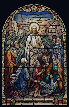 Stained glass window depicting Palm Sunday