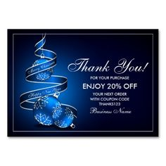Custom Christmas Thank You For Your Purchase Cards (Pack Of 100)