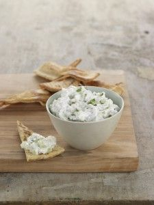 Greek yogurt, cucumber and  feta cheese dip.