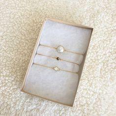 Dainty Pearl Bracelet, Micro Dainty Gold Pyrite Bracelet & Micro Spade Bracelet by Long Lost Jewelry