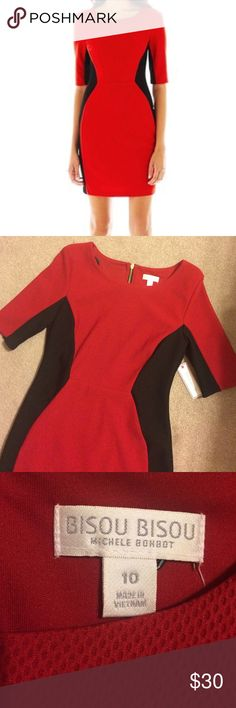 NWT Black and Red color block dress 🌹 Brand new Bisou Bisou dress. Never been worn and still has the tags attached. 3/4 sleeves make this dress perfect all year! :) Bisou Bisou Dresses Mini