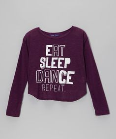 Take a look at this Eggplant 'Eat Sleep Dance' Hi-Low Tee by Purple Pixies Dance on #zulily today!