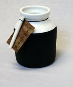 Contemporary Doodle Jar Artisan Crafted Certified Fair Trade by Chaka. $27.95. Incredibly cool jar that comes with chalk ready to hold your kitchen tools or office accessories. Hand processed clay with chalkboard paint.. What will you write on the jar, comes with chalk.. It stands 5.5 inches tall by 4 inches in diameter, the opening is 3 inches.. The distinctive shape with the ability to write what is in them make these so hip.