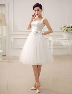 Square Neck Applique Satin Short Wedding Dress with Beading Bow Sash Milanoo