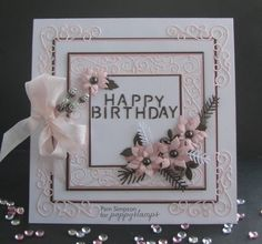 Hi everyone, my first post after the New Year, I am hoping 2015 does not go as quick as 2014.. This card is a simple design in some of my favourite colours..White..Peachy/pink..Brown.. I have used the lovely Claudette Frame cut two in pink, complete one in the centre panel and one cut in four to make four corners. You can see the complete square here.. Happy Birthday text from