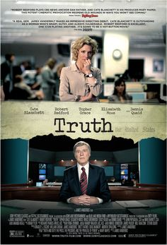 Truth on DVD February 2016 starring Robert Redford, Cate Blanchett, Elisabeth Moss, Dennis Quaid. A firestorm erupts in September of 2004 when Dan Rather reports that George W. Bush had received special treatment while serving in the Air 2015 Movies, Hd Movies, Movies To Watch, Movies Online, Movies And Tv Shows, Movie Tv, Tv Watch, Drama Movies, Elisabeth Moss