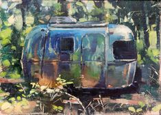 "I sent this mini painting of our old Airstream Bambi Sport 16 to Alumapalooza 9 for an auction to benefit a local food pantry.  ""Bambi in the Woods"" (oil on board, 5""x7""). Painting photo by Saunders Fine Arts.  #patricksaunders #patricksaundersfinearts #patricksaundersfineart #patsaunders #pleinairstreaming #saundersfinearts #airstream #airstreamlife #liveriveted #myliverivetedlife #airstreamart #airstreampainting"