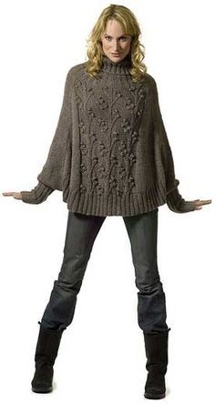 Free Wisteria pattern, it is a trapeze raglan turtleneck pullover. << Reminds me of a poncho with cuffs that made a huge impact at show and tell at our last guild meeting!