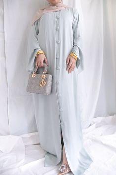 Barakah London abaya Couture dress with buttons Abaya Style, Duck Egg Blue, Viscose Fabric, Abaya Fashion, Couture Dresses, Buttons, London, Coat, Model