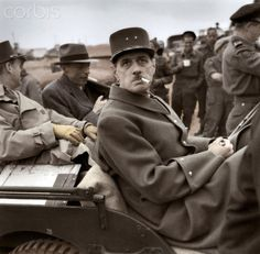 The French general Charles de Gaulle in a jeep few days after the Invasion of Normandy by the Allied forces. Normandy Invasion, Jackson, Gaulle, My War, Military Pictures, French Army, History Facts, Military History, Us Army