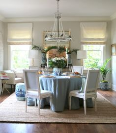 The dining room wall color is Benjamin Moore Edgecomb Gray HC-173, a designer favorite. Trim is Linen White OC-146