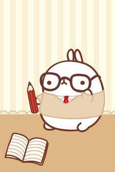 공부하는 몰랑이 배경 | 캐릭터 | 귀여운 | 이모티콘 | 몰랑이 | Molang | Character | Cute | Kawaii  | Adorable | Lovely | かわいい | キャラクター |