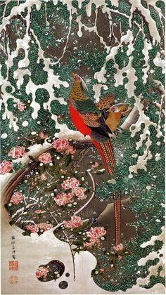 Japanese Art Print Golden Pheasants in Snow Fine Art Reproduction Art And Illustration, Japan Painting, Painting & Drawing, Japanese Woodcut, Art Chinois, Art Asiatique, Art Japonais, Japanese Prints, Japanese Bird