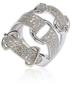 Suzy Levian Sterling Silver Cubic Zirconia White Buckle Ring.