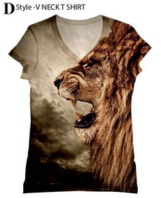 Hey, I found this really awesome Etsy listing at http://www.etsy.com/listing/114470802/woman-lion-print-topt-shirt-and