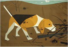Charley Harper original Beagle painting/collage