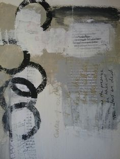Mixed media original painting   Mixed media original abstract painting on paper Greek script