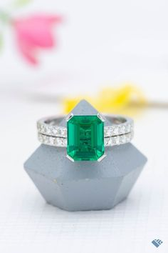 A beauty of a bridal set in white gold, with a large emerald cut emerald as the star of the show. A sleek, modern setting with lots of sparkle from the pave on the band. Just a stunning set. Classic Engagement Rings, Bridal Sets, Emerald Cut, Her Style, Ring Designs, Cars Motorcycles, Halo, White Gold, Sparkle