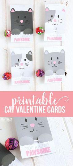 Free Printable Cat Valentine Day from CraftingE via www.thirtyhandmadedays.com #valentine