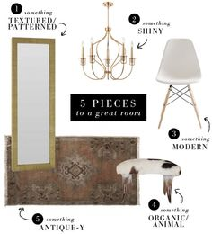 "This is great advice for decorating any room! ""5 pieces to a great room"" formula via small shop"