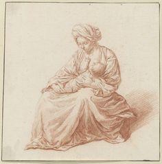 unknown | Zittende vrouw met kind aan haar borst, unknown, c. 1650 - c. 1699 |
