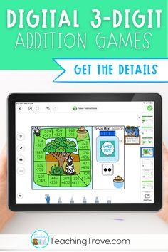 This three digit addition game from the First and Second Grade Math Center Bundle provides the perfect way to practice adding three digit numbers with regrouping using the standard algorithm. Regrouping in this game is only in the ones place.