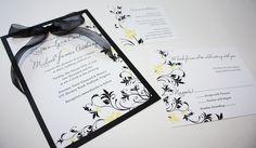 wedding invitations black and yellow   canary & black invitations