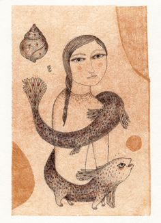 E Drawing on tea bag by grivemune by grivemuneshop on Etsy
