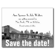 NYC Skyline Bklyn Bridge Etched Save the Date Post Cards today price drop and special promotion. Get The best buyDealsOnline Secure Check out Quick and Easy. Black And White Wedding Invitations, Wedding Invitation Sets, Thank You Postcards, Save The Date Postcards, Wedding Postcard, Nyc Skyline, Paris Wedding, Lower Manhattan, Postcard Design