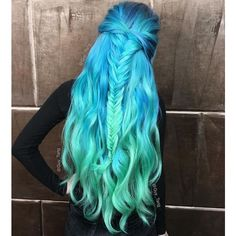 long blue ombre mermaid hair ❤ liked on Polyvore featuring hair