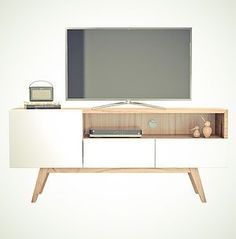 ***vaserdelona muebles***   Mueble Tv Muebles Living, Tv Sets, Plywood Furniture, Furniture Ideas, Living Room Tv, Tv Cabinets, Tv Unit, Credenza, Office Desk