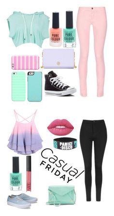 """pastel"" by marie-talley ❤ liked on Polyvore featuring Maison Kitsuné, Converse, Tory Burch, Casetify, Kate Spade, New Look, Topshop, Apt. 9, Lime Crime and NARS Cosmetics"