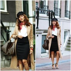 via LookBook Vuitton Bag, Louis Vuitton, Long Trench Coat, Vintage Handkerchiefs, Outfits With Hats, Who What Wear, Casual Chic, Preppy, Leather Skirt