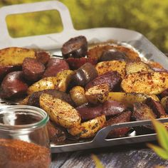 Grilled Fingerling Potatoes with an amazing, flavorful rub! A naturally dairy-free, gluten-free, vegan recipe