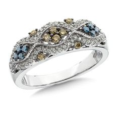 Scattered Brilliance, Playful Light.  Cognac, Blue and White Diamond Ring CDL2465-W  $1,400