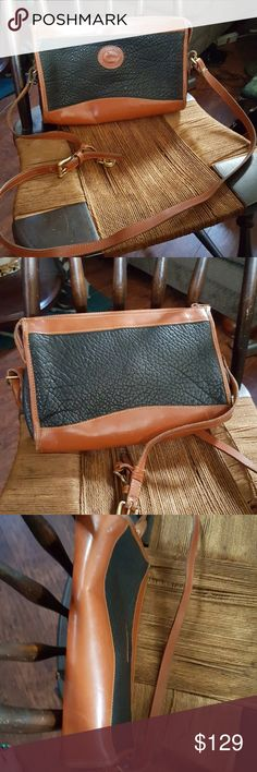 Fab all-weather vintage Dooney crossbody bag An overall fabulous condition with two leather pockets and closure in brass. It has the fob and is in good condition with somewhere to the corners as shown. Strap is adjustable. Dooney & Bourke Bags Crossbody Bags