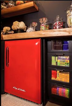 Retro and Modern Refrigerators Capture vintage style and modern performance with a Big Chill fridge. Unique design comes sized for families or small spaces and loaded with today's features. Garage Game Rooms, Basement Guest Rooms, Basement Bathroom, Modern Refrigerators, Retro Appliances, Media Room Decor, Media Room Design, Media Rooms, Unfinished Basement Walls