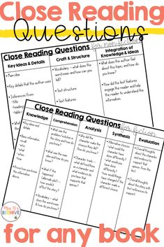 closereading literature questions creating reading beehive lesson ideas close into your help turn book own Creating Your Own Close Reading Questions Mrs Bs Beehive Close reading ideas to help you turn aYou can find Close reading and more on our website Close Reading Lessons, Close Reading Strategies, Reading Lesson Plans, Reading Resources, Reading Skills, Close Reading Activities, School Resources, Writing Skills, 4th Grade Reading