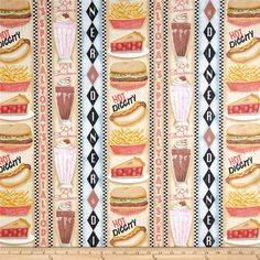 Good Eats Diner Vertical Stripe Multi from @fabricdotcom  Designed by me-O-my for Spectrix, this cotton print fabric is perfect for quilting, apparel and home decor accents. Colors include brown, golden tan, red, black, green, white, blue, grey and pink.