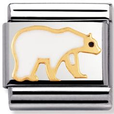 Stainless steel and gold Link Arctic Animals Nomination Charms, Nomination Bracelet, Arctic Animals, Fiorelli, Christmas Wishes, Bracelet Designs, Polar Bear, 18k Gold, Link