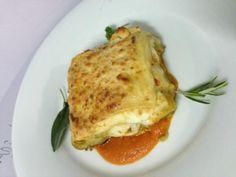 ...lasagna vegetal con queso de cabra