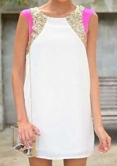 Stylish Round Collar Color Block Sequined Sleeveless Dress For Women