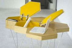 storage of Unusual Modular Table In Honeycomb Shape